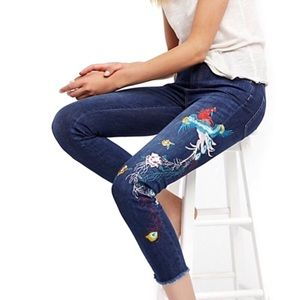 Free People Hi-Rise Embroidered Jeans Size 27